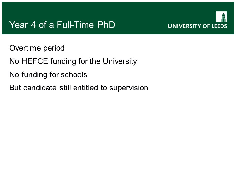 Year 4 of a Full-Time PhD Overtime period No HEFCE funding for the University No funding for schools But candidate still entitled to supervision