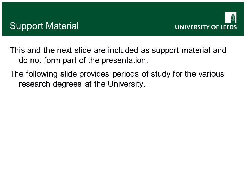Support Material This and the next slide are included as support material and do not form part of the presentation.