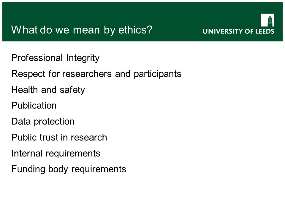 What do we mean by ethics.