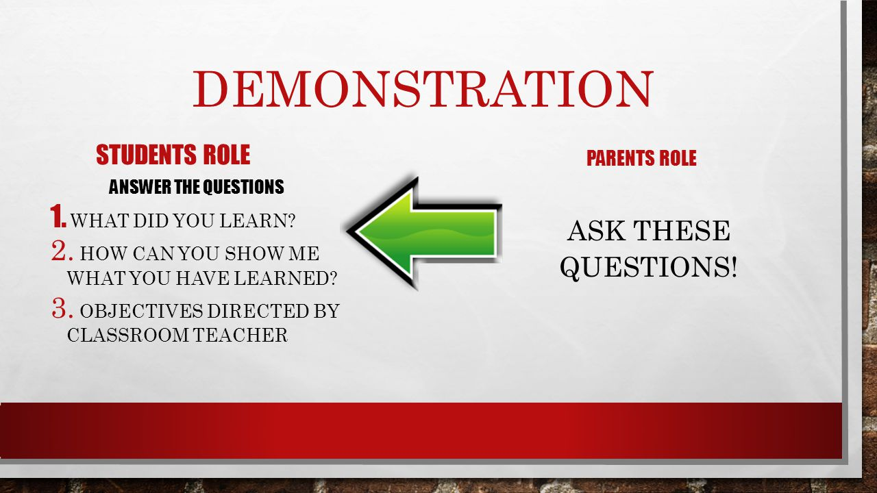 DEMONSTRATION STUDENTS ROLE ANSWER THE QUESTIONS 1.