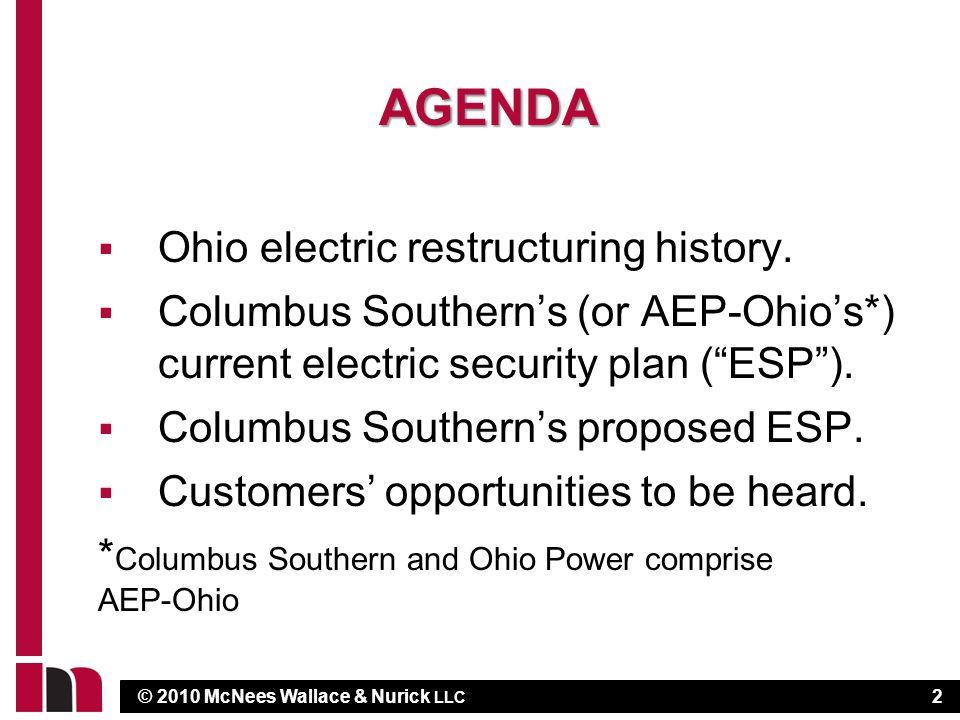 © 2010 McNees Wallace & Nurick LLC AGENDA  Ohio electric restructuring history.