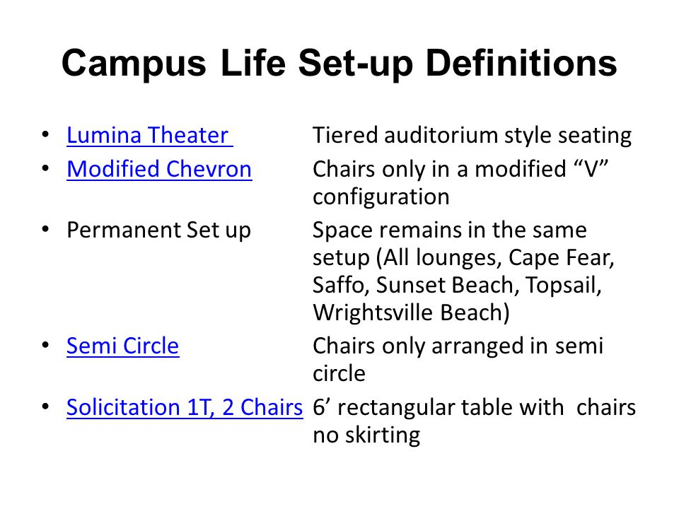 Campus Life Set-up Definitions Lumina Theater Tiered auditorium style seating Lumina Theater Modified ChevronChairs only in a modified V configuration Modified Chevron Permanent Set upSpace remains in the same setup (All lounges, Cape Fear, Saffo, Sunset Beach, Topsail, Wrightsville Beach) Semi CircleChairs only arranged in semi circle Semi Circle Solicitation 1T, 2 Chairs6' rectangular table with chairs no skirting Solicitation 1T, 2 Chairs