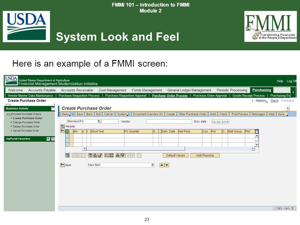 Transforming Financials at the People's Department 23 System Look and Feel FMMI 101 – Introduction to FMMI Module 2 Here is an example of a FMMI scree