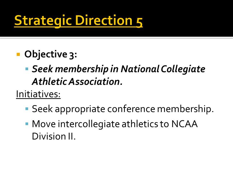  Objective 3:  Seek membership in National Collegiate Athletic Association.