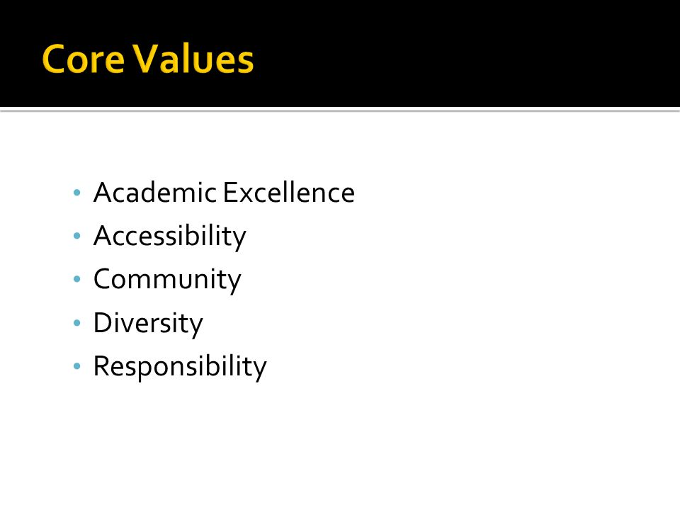 Academic Excellence Accessibility Community Diversity Responsibility