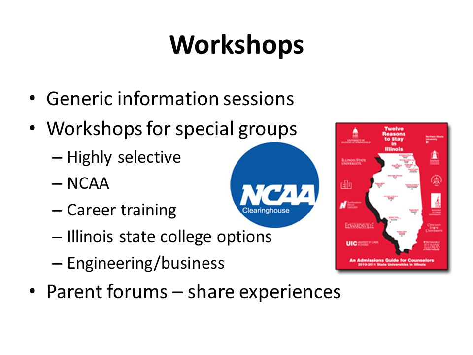 Workshops Generic information sessions Workshops for special groups – Highly selective – NCAA – Career training – Illinois state college options – Eng
