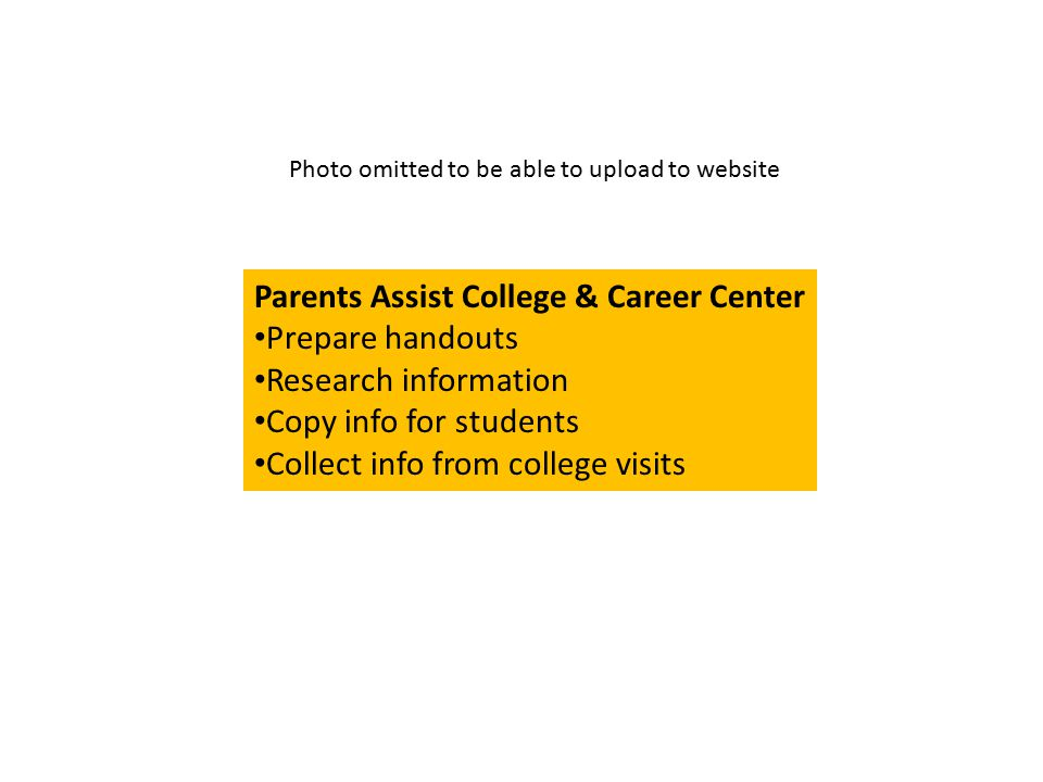 Parents Assist College & Career Center Prepare handouts Research information Copy info for students Collect info from college visits Photo omitted to be able to upload to website