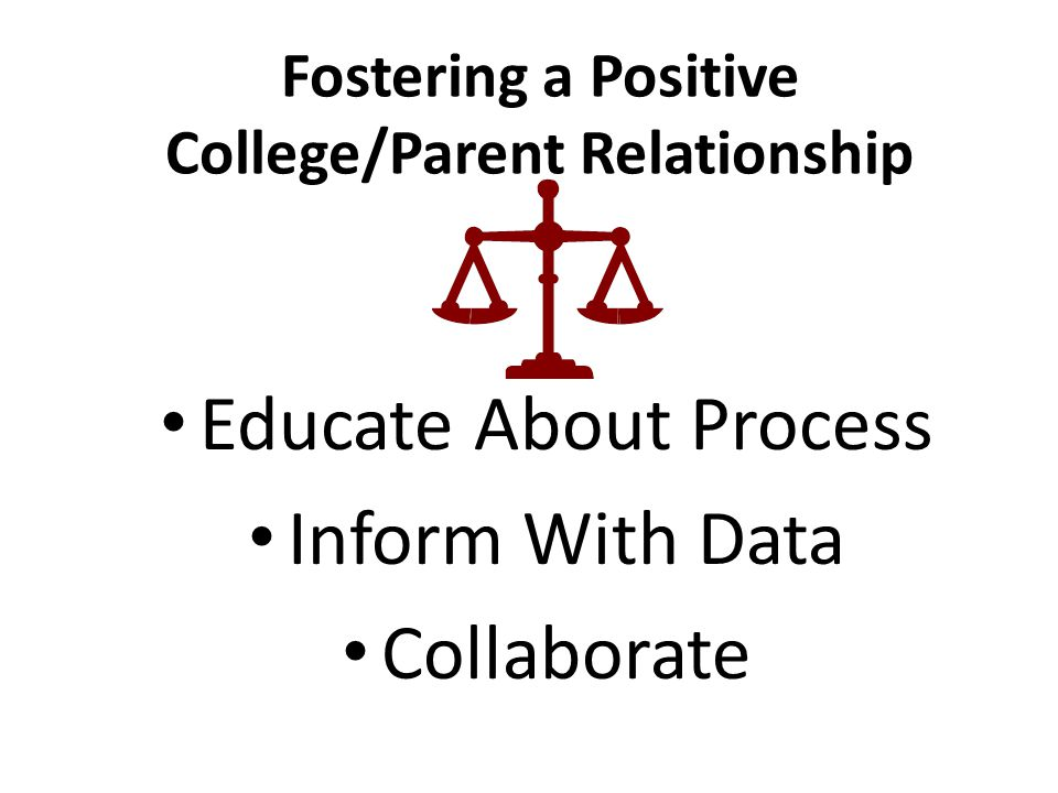 Fostering a Positive College/Parent Relationship Educate About Process Inform With Data Collaborate