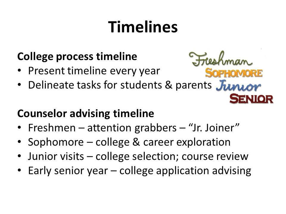 Timelines College process timeline Present timeline every year Delineate tasks for students & parents Counselor advising timeline Freshmen – attention