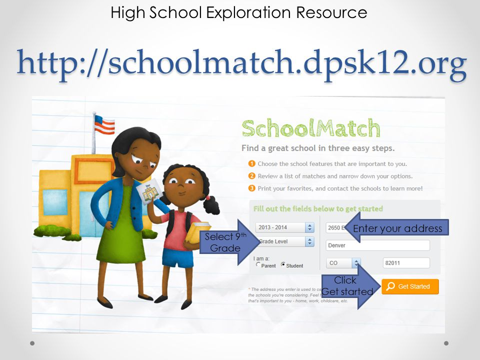 http://schoolmatch.dpsk12.org Select 9 th Grade Click Get started Enter your address High School Exploration Resource