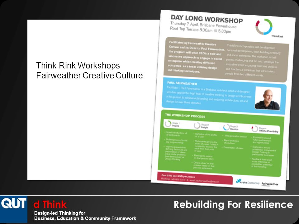 d Think Rebuilding For Resilience Design-led Thinking for Business, Education & Community Framework Think Rink Workshops Fairweather Creative Culture