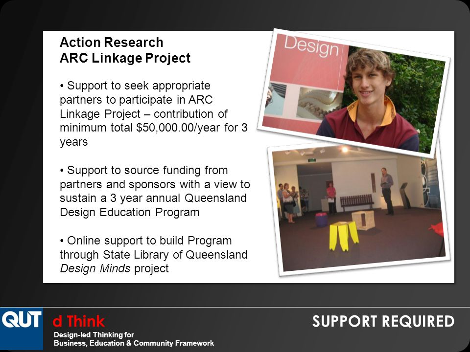 d Think SUPPORT REQUIRED Design-led Thinking for Business, Education & Community Framework Action Research ARC Linkage Project Support to seek appropriate partners to participate in ARC Linkage Project – contribution of minimum total $50,000.00/year for 3 years Support to source funding from partners and sponsors with a view to sustain a 3 year annual Queensland Design Education Program Online support to build Program through State Library of Queensland Design Minds project