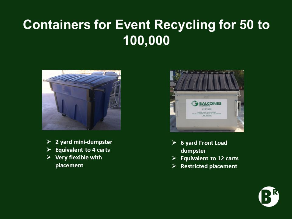 Containers for Event Recycling for 50 to 100,000  2 yard mini-dumpster  Equivalent to 4 carts  Very flexible with placement  6 yard Front Load dumpster  Equivalent to 12 carts  Restricted placement