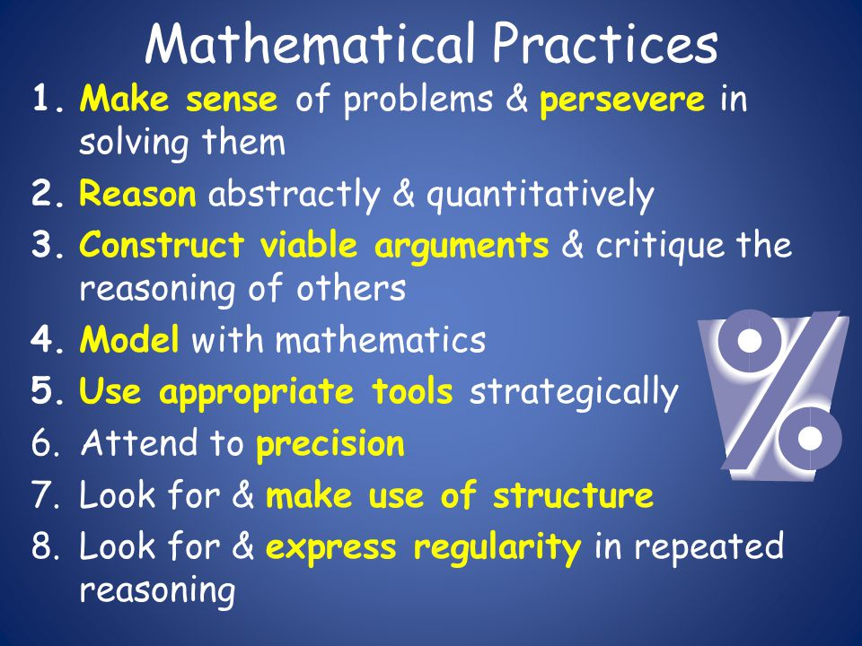 Mathematical Practices 1.Make sense of problems & persevere in solving them 2.Reason abstractly & quantitatively 3.Construct viable arguments & critiq
