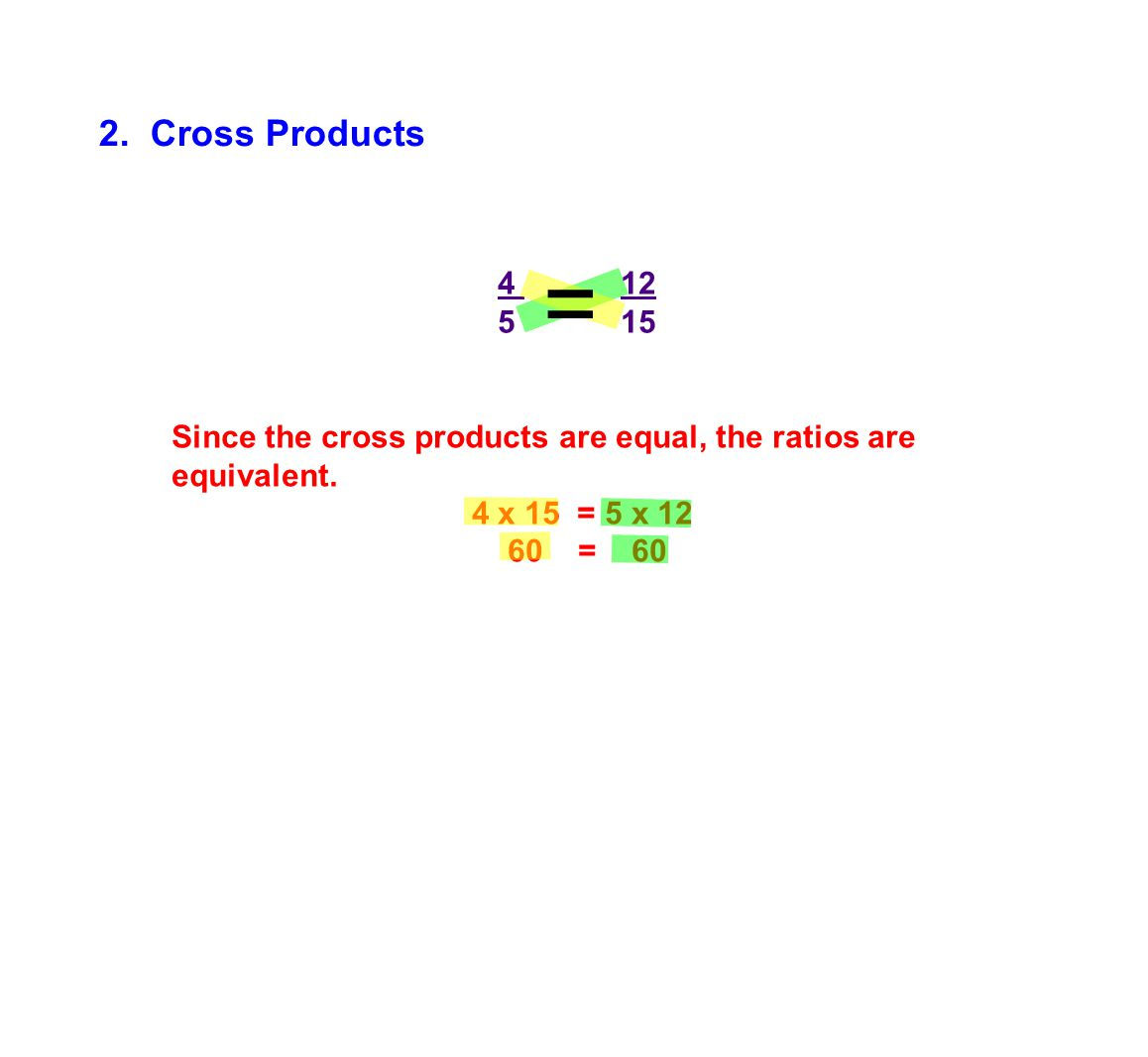 4 12 5 15 Since the cross products are equal, the ratios are equivalent. 4 x 15 = 5 x 12 60 = 60 2. Cross Products =