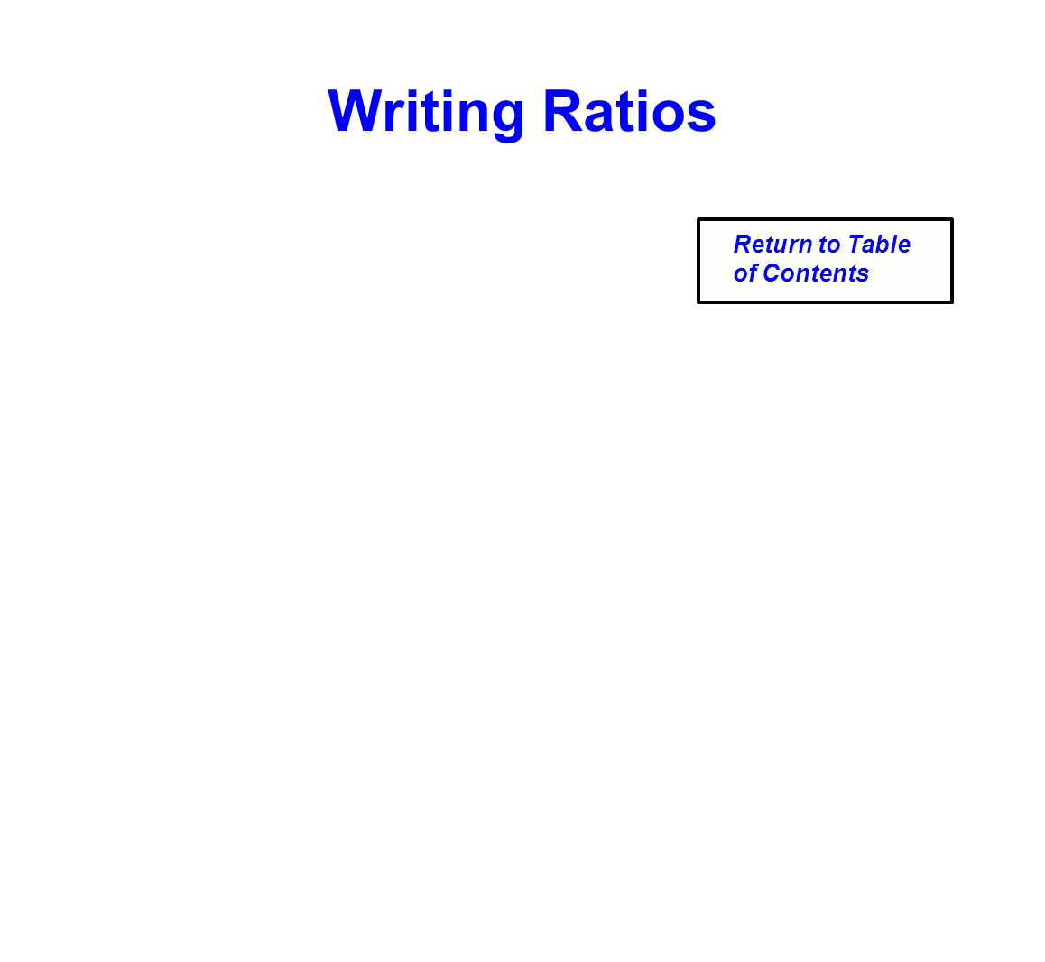What do you know about ratios? When have you seen or used ratios? Ratios