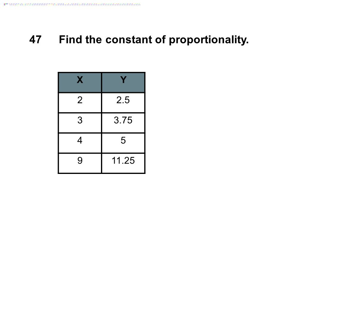 XY 22.5 33.75 45 911.25 47Find the constant of proportionality.
