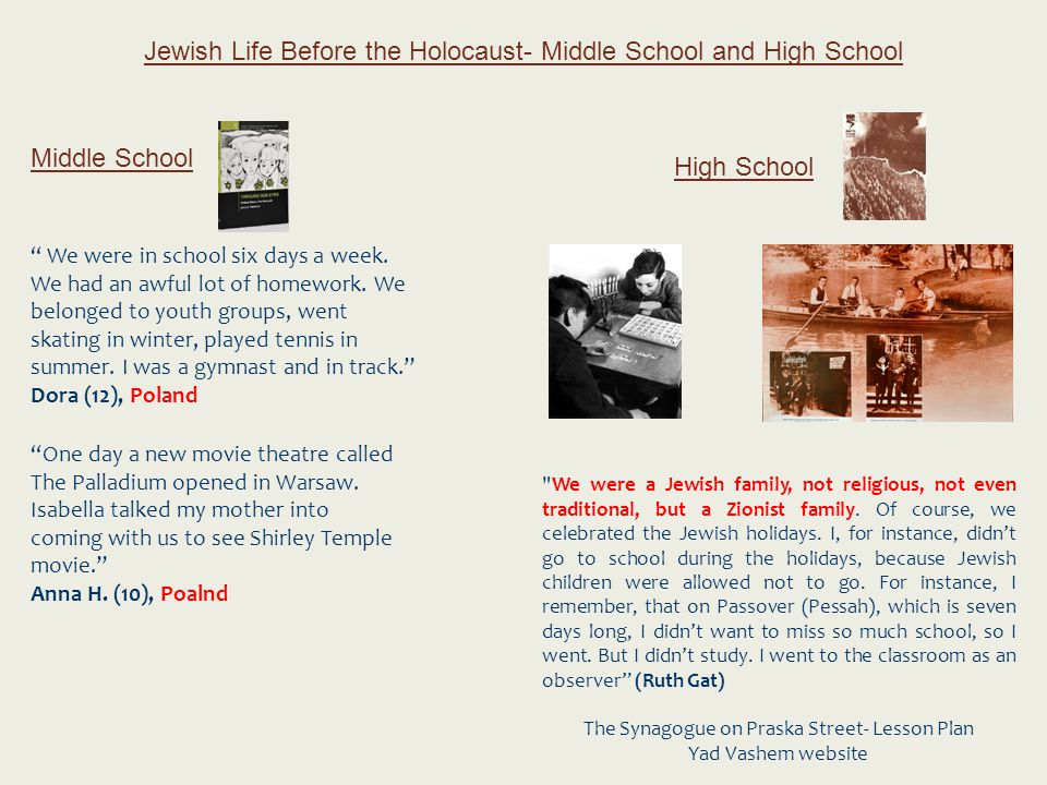 "Jewish Life Before the Holocaust- Middle School and High School Middle School High School "" We were in school six days a week. We had an awful lot of"