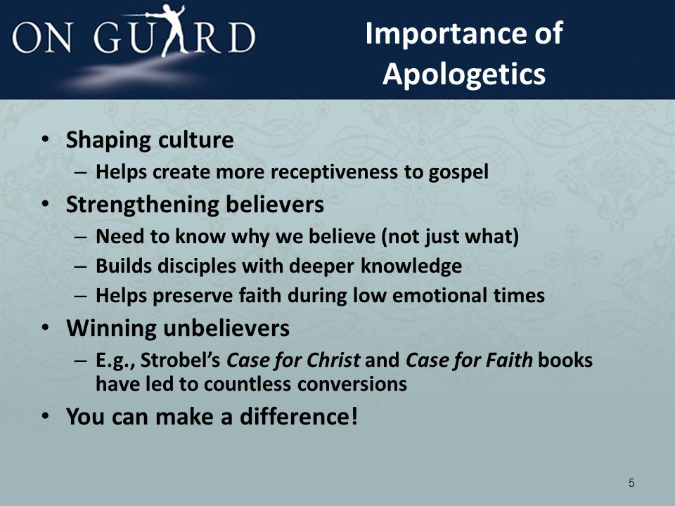 Biblical Basis for Apologetics Always being ready to make a defense to everyone who asks you to give an account for the hope that is in you, yet with gentleness and respect I Peter 3:15b – Greek word for defense is origin of apologetics (apologia) Examples: – Paul approached Athenian philosophers in Acts 17 on their terms – Paul rented hall of Tyrannus in Ephesus for 2 years to argue daily for gospel and reason with unbelievers (Acts 19:9-10) See to it that no one takes you captive through philosophy and empty deception Col 2:8a 6 Good philosophy must exist, if for no other reason, because bad philosophy needs to be answered C.S.