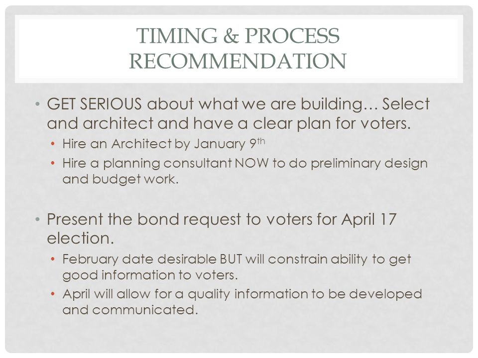 TIMING & PROCESS RECOMMENDATION GET SERIOUS about what we are building… Select and architect and have a clear plan for voters.