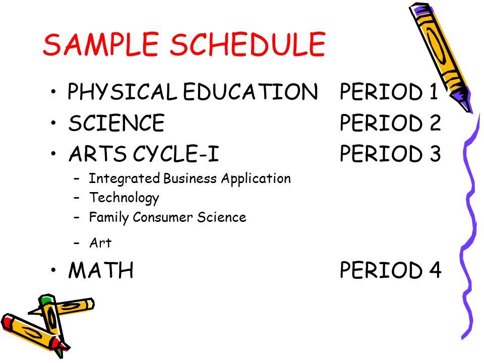 SAMPLE SCHEDULE LUNCHPERIOD 5 SOCIAL STUDIESPERIOD 6 WORLD LANG./MUSICPERIOD 7 IRLAPERIOD 8 ENRICHMENTPERIOD 9