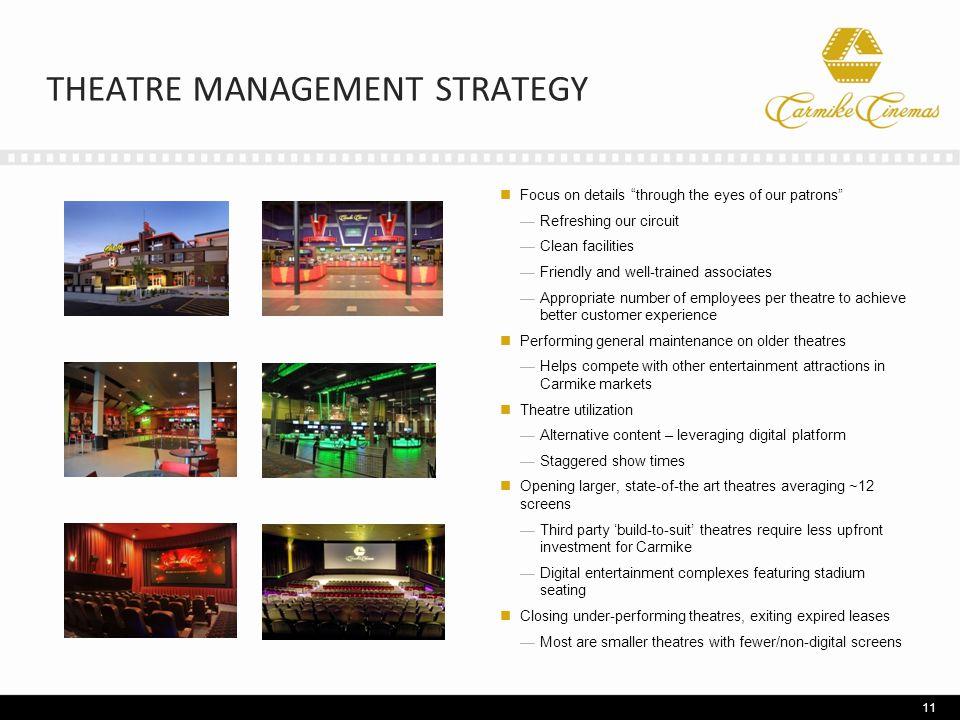 THEATRE MANAGEMENT STRATEGY Focus on details through the eyes of our patrons —Refreshing our circuit —Clean facilities —Friendly and well-trained associates —Appropriate number of employees per theatre to achieve better customer experience Performing general maintenance on older theatres —Helps compete with other entertainment attractions in Carmike markets Theatre utilization —Alternative content – leveraging digital platform —Staggered show times Opening larger, state-of-the art theatres averaging ~12 screens —Third party 'build-to-suit' theatres require less upfront investment for Carmike —Digital entertainment complexes featuring stadium seating Closing under-performing theatres, exiting expired leases —Most are smaller theatres with fewer/non-digital screens 11
