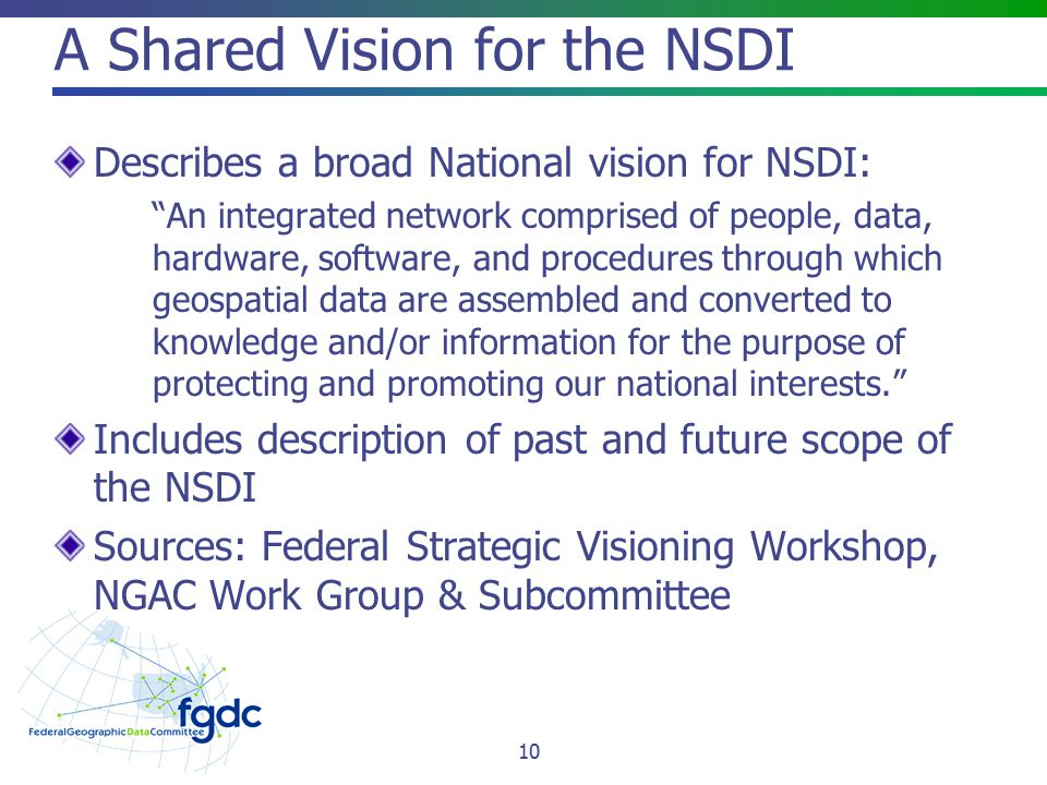 A Shared Vision for the NSDI Describes a broad National vision for NSDI: An integrated network comprised of people, data, hardware, software, and procedures through which geospatial data are assembled and converted to knowledge and/or information for the purpose of protecting and promoting our national interests. Includes description of past and future scope of the NSDI Sources: Federal Strategic Visioning Workshop, NGAC Work Group & Subcommittee 10