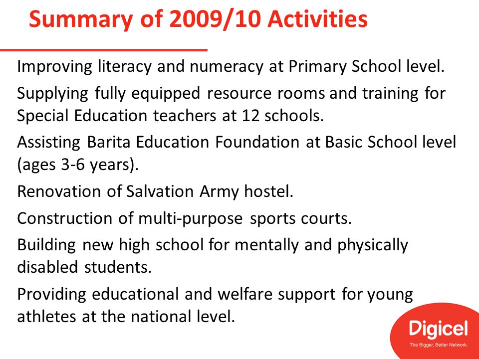 Summary of 2009/10 Activities Improving literacy and numeracy at Primary School level.
