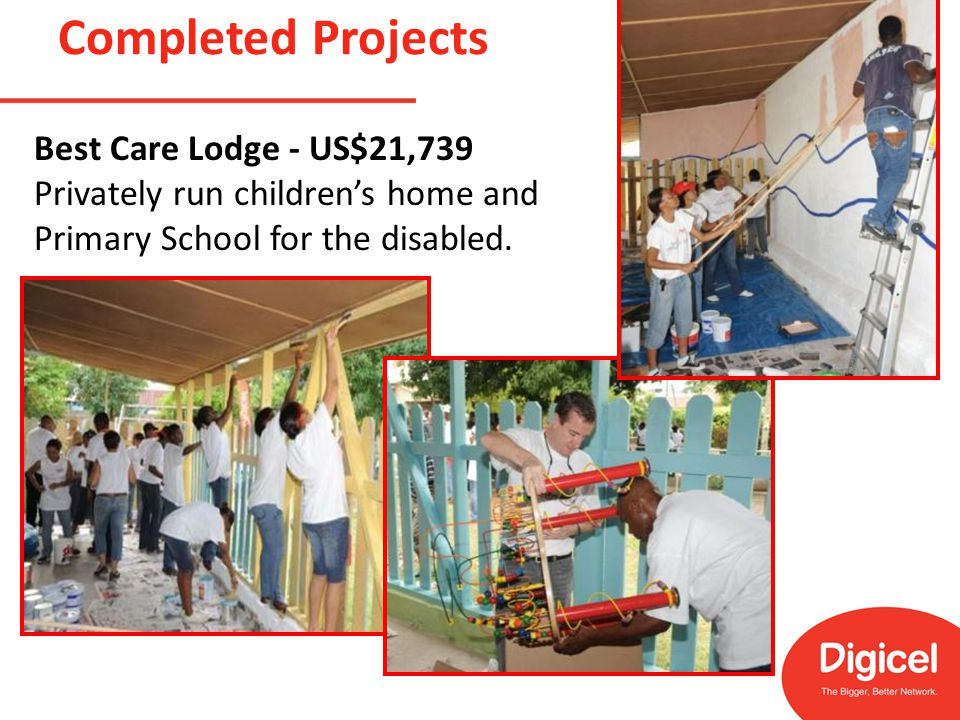 Completed Projects Best Care Lodge - US$21,739 Privately run children's home and Primary School for the disabled.