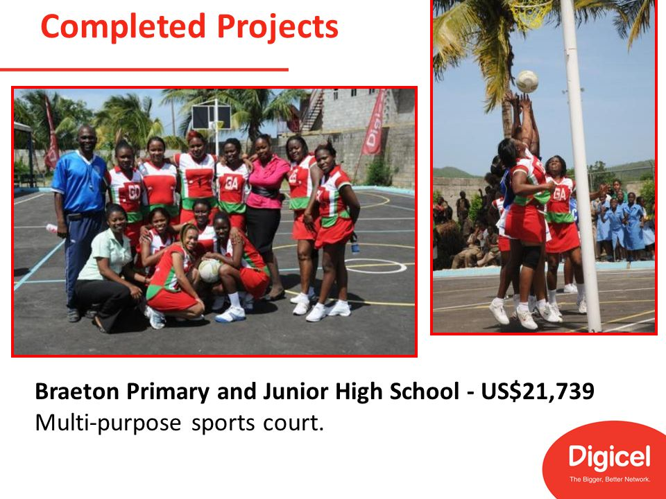 Completed Projects Braeton Primary and Junior High School - US$21,739 Multi-purpose sports court.