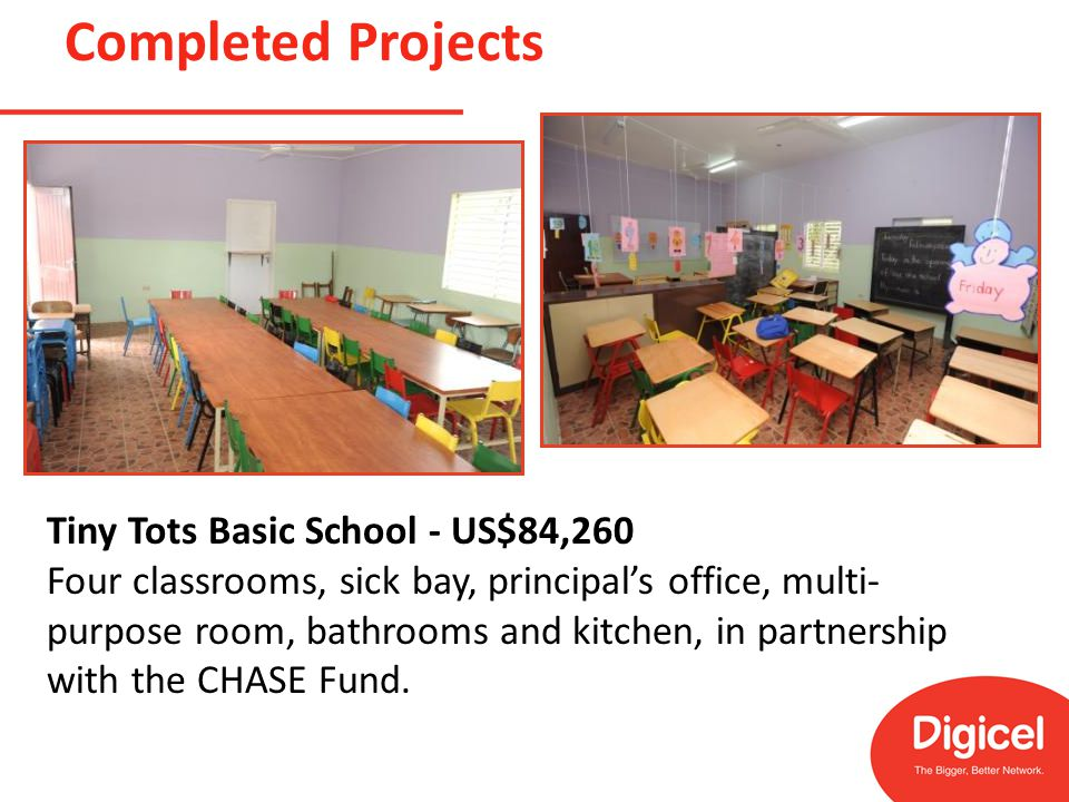 Completed Projects Tiny Tots Basic School - US$84,260 Four classrooms, sick bay, principal's office, multi- purpose room, bathrooms and kitchen, in partnership with the CHASE Fund.