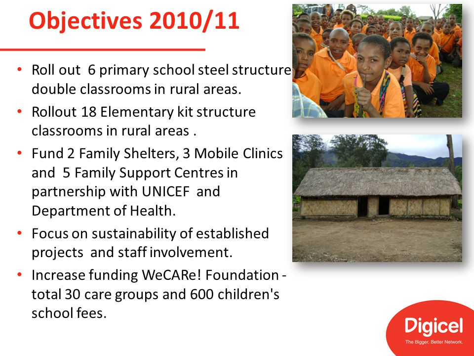 Roll out 6 primary school steel structure double classrooms in rural areas.
