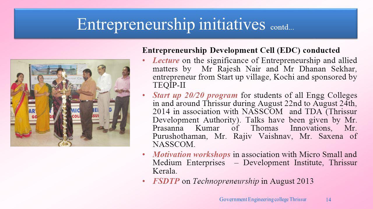 Entrepreneurship initiatives contd...