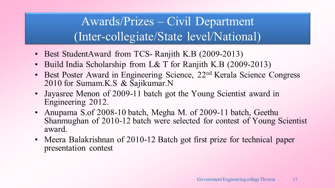 Awards/Prizes – Civil Department (Inter-collegiate/State level/National) Best StudentAward from TCS- Ranjith K.B (2009-2013) Build India Scholarship f