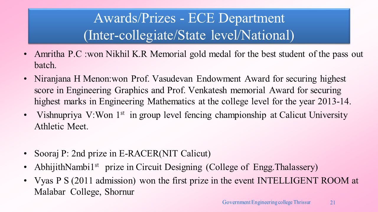 Awards/Prizes - ECE Department (Inter-collegiate/State level/National) Amritha P.C :won Nikhil K.R Memorial gold medal for the best student of the pass out batch.