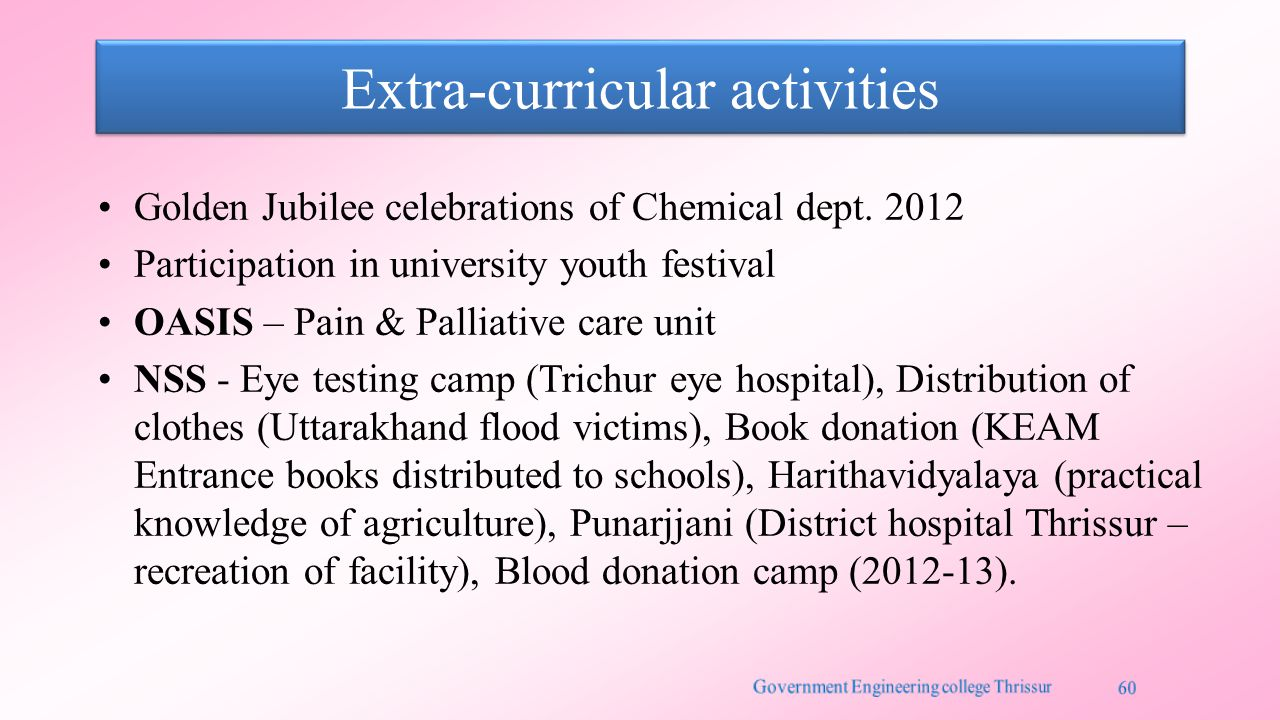 Extra-curricular activities Golden Jubilee celebrations of Chemical dept.