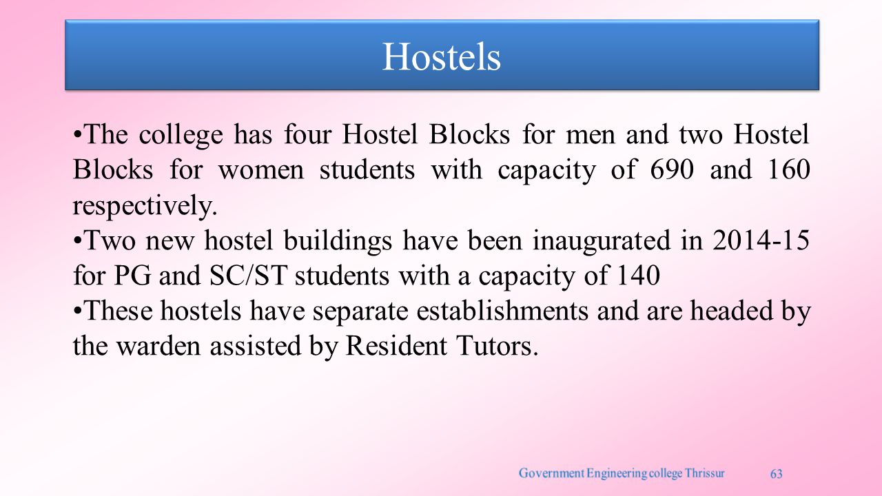Hostels The college has four Hostel Blocks for men and two Hostel Blocks for women students with capacity of 690 and 160 respectively.