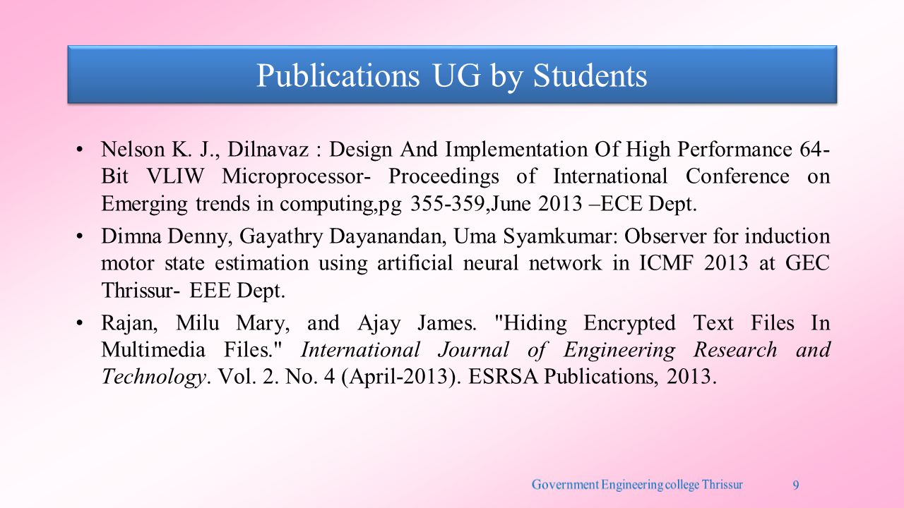 Publications UG by Students Nelson K. J., Dilnavaz : Design And Implementation Of High Performance 64- Bit VLIW Microprocessor- Proceedings of Interna