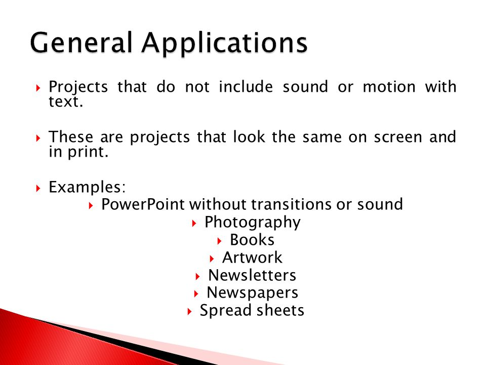  Projects that do not include sound or motion with text.