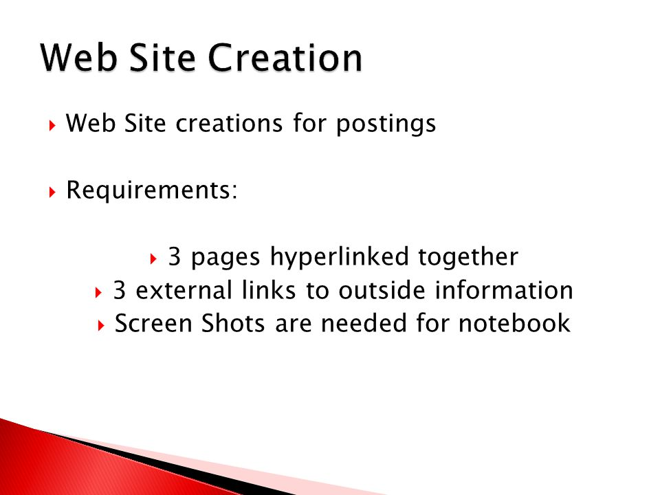  Web Site creations for postings  Requirements:  3 pages hyperlinked together  3 external links to outside information  Screen Shots are needed for notebook