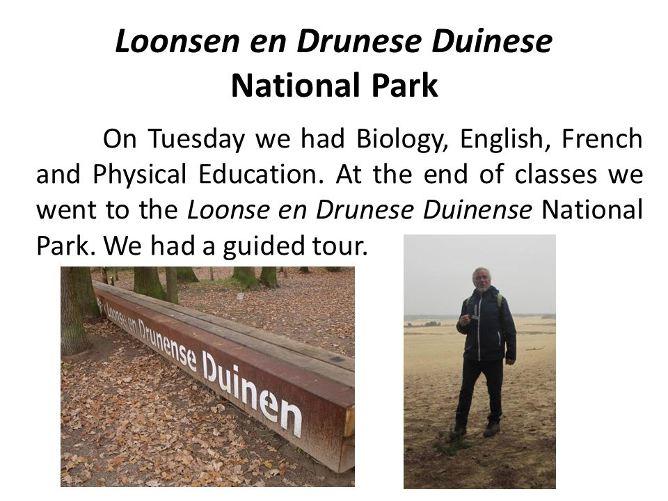 Loonsen en Drunese Duinese National Park On Tuesday we had Biology, English, French and Physical Education. At the end of classes we went to the Loons