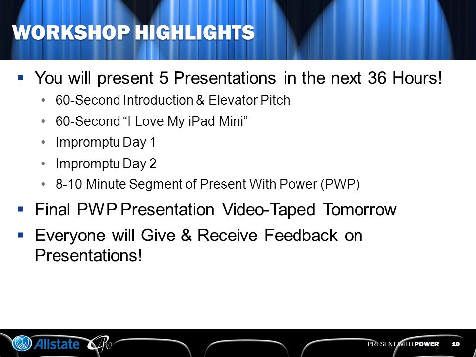 PRESENT WITH POWER WORKSHOP AGENDA  4 Keys to Develop Your Presentation  5 Steps to Prep  Communication Signals  Power Opening  Power Delivery  Power Close  Dynamic Visual Aids  Feedback Tools  Practice 9 iBook-7