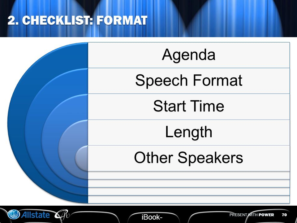 PRESENT WITH POWER 2. CHECKLIST: ROOM & SEATING 69 iBook- 40