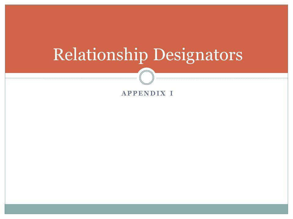 APPENDIX I Relationship Designators
