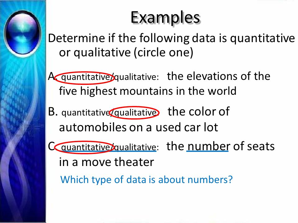Examples Determine if the following data is quantitative or qualitative (circle one) A.