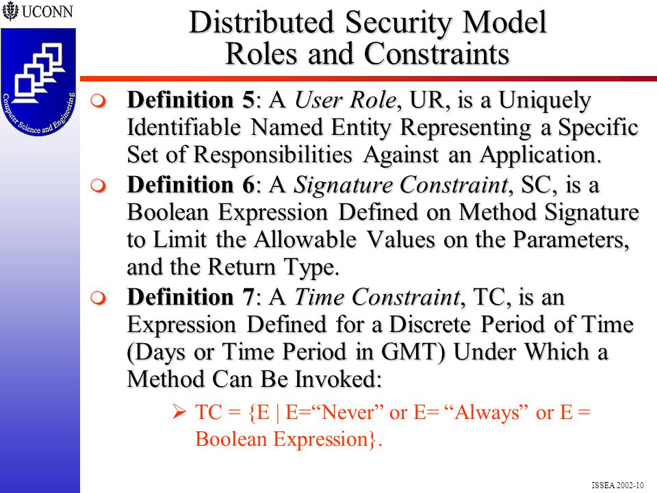 ISSEA 2002-10 Distributed Security Model Roles and Constraints  Definition 5: A User Role, UR, is a Uniquely Identifiable Named Entity Representing a Specific Set of Responsibilities Against an Application.