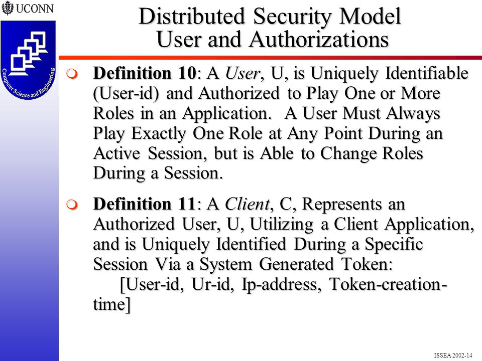 ISSEA 2002-14 Distributed Security Model User and Authorizations  Definition 10: A User, U, is Uniquely Identifiable (User-id) and Authorized to Play One or More Roles in an Application.