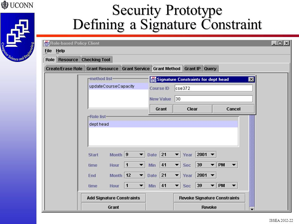 ISSEA 2002-22 Security Prototype Defining a Signature Constraint