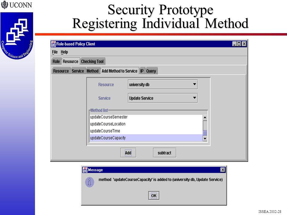 ISSEA 2002-28 Security Prototype Registering Individual Method