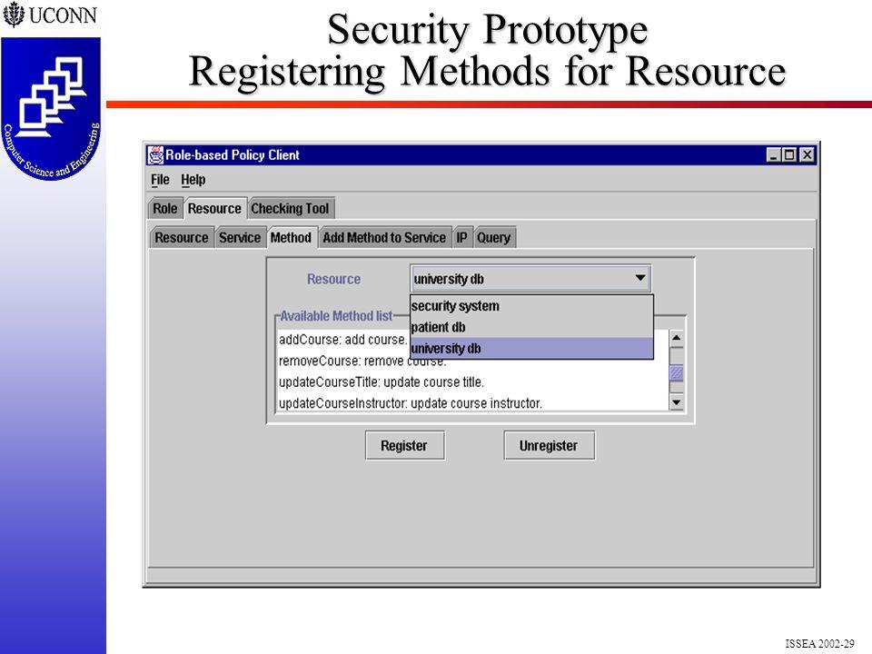 ISSEA 2002-29 Security Prototype Registering Methods for Resource